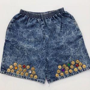 VTG Gepetto Embellished High Waist Denim Shorts S